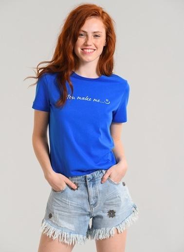 Agenda Baskılı Tişört Mavi